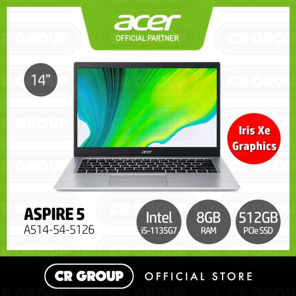 [Same Day Delivery] Acer Aspire 5 A514-54-5126 (Pink) 14 Inch Full HD   Core i5-1135G7   8GB RAM   512GB SSD   Intel Iris Xe Graphics