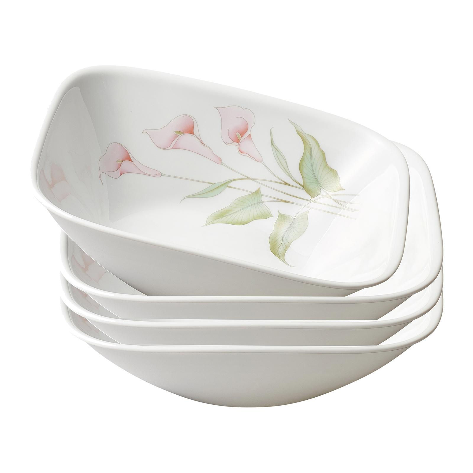Corelle 4 PCS Square Round 32oz Bowl Set (Design: Lilyville)