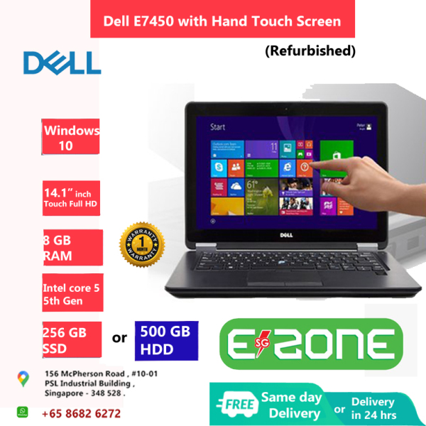 [Same Day Delivery or within 24 hrs Delivery ] Dell Latitude E7450 with Hand Touch Screen (Refurbished) | intel core i5 -5th Gen | 8 GB RAM | 256 GB SSD or 500 GB HDD | 14 inch Display Screen | Windows 10 | Ms office