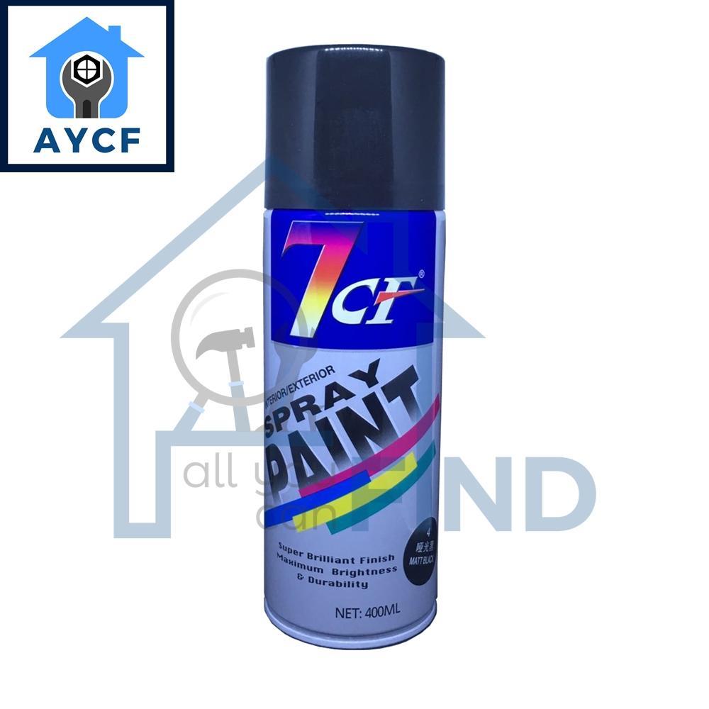 (BUNDLE OF 12) 7CF Interior / Exterior Spray Paint 400ml - Matt Black