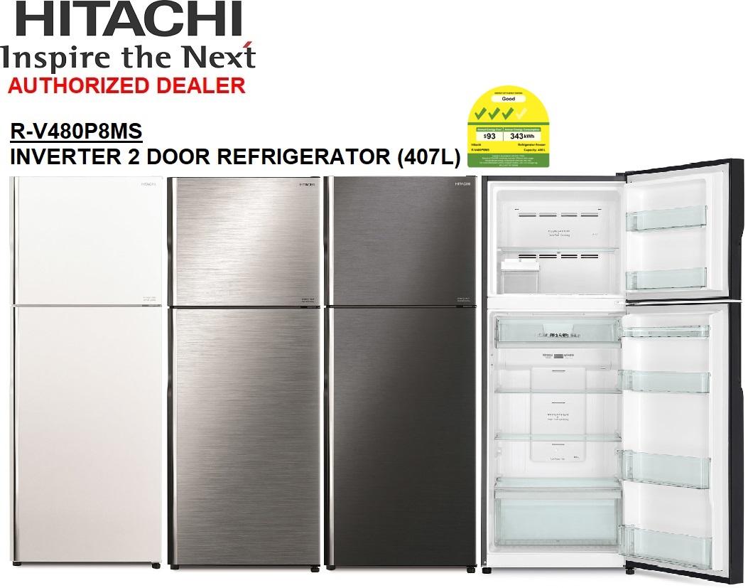 Hitachi R-V480p8ms New Stylish 2 Door Inverter Refrigerator 407l.
