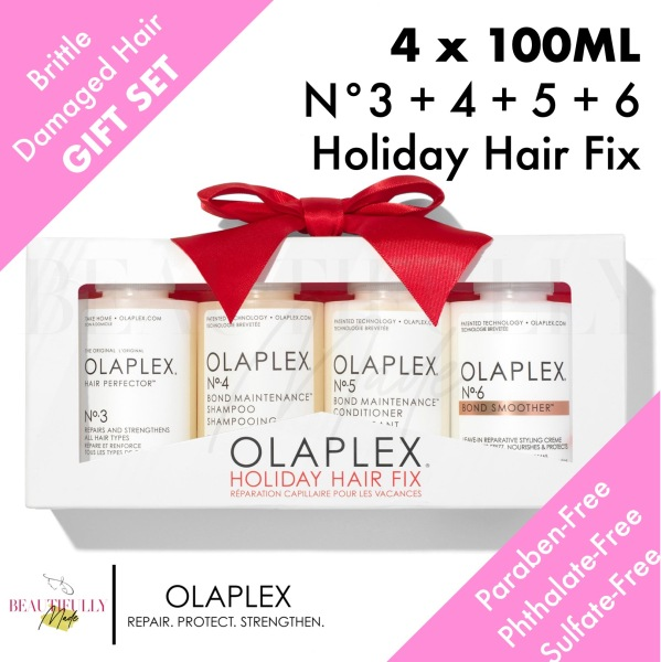 Buy [Exclusive Gift Set] OLAPLEX Holiday Hair Fix Kit (4 x 100ML) -  Includes No.3 Hair Perfector + No.4 Bond Maintenance Shampoo + No.5 Bond Maintenance Conditioner + No.6 Bond Smoother - Great for Christmas Gift! Singapore
