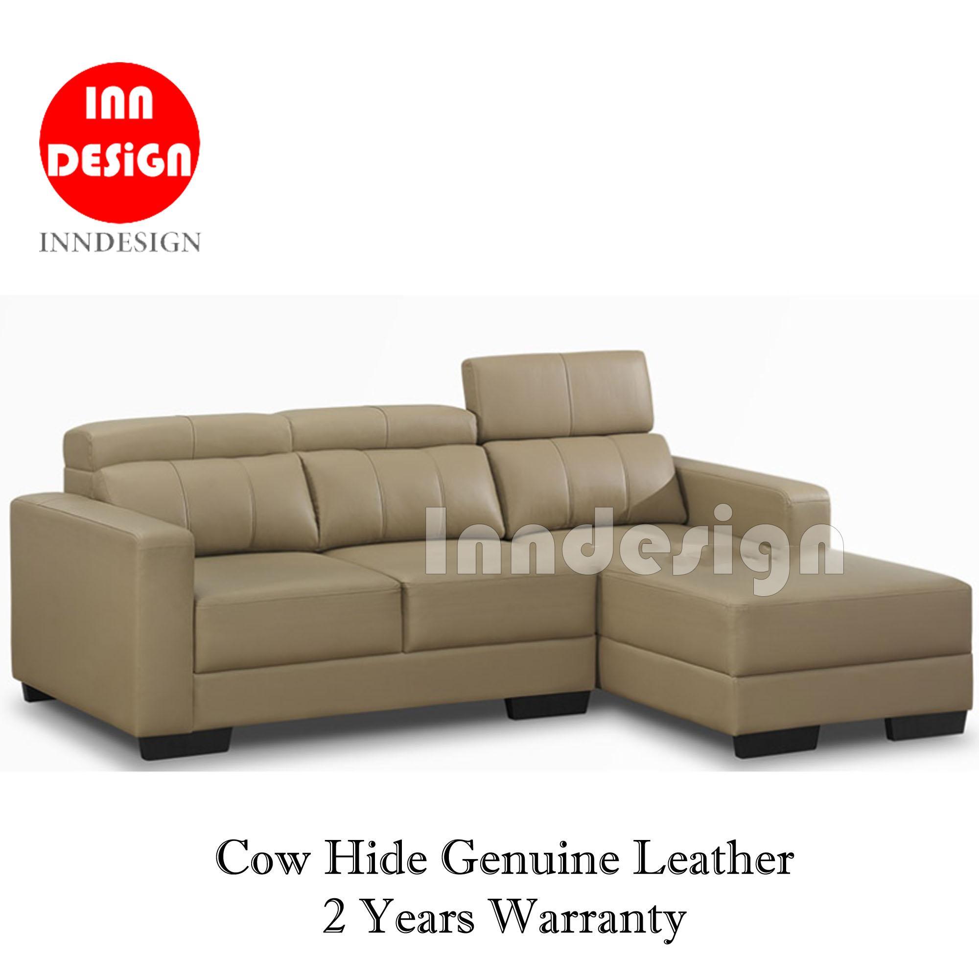 Sammi L-Shape Sofa  (Genuine Cow Hide Half Leather) (2 Years Warranty)