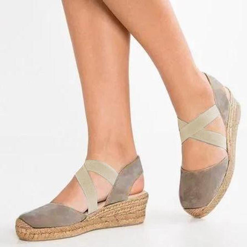 d09d1cd3fc chinastorenie Wedge Shoes Fashion Women Elastic Band Wedges Sandals Platform  Round Toe Shoe Heeled Sandals