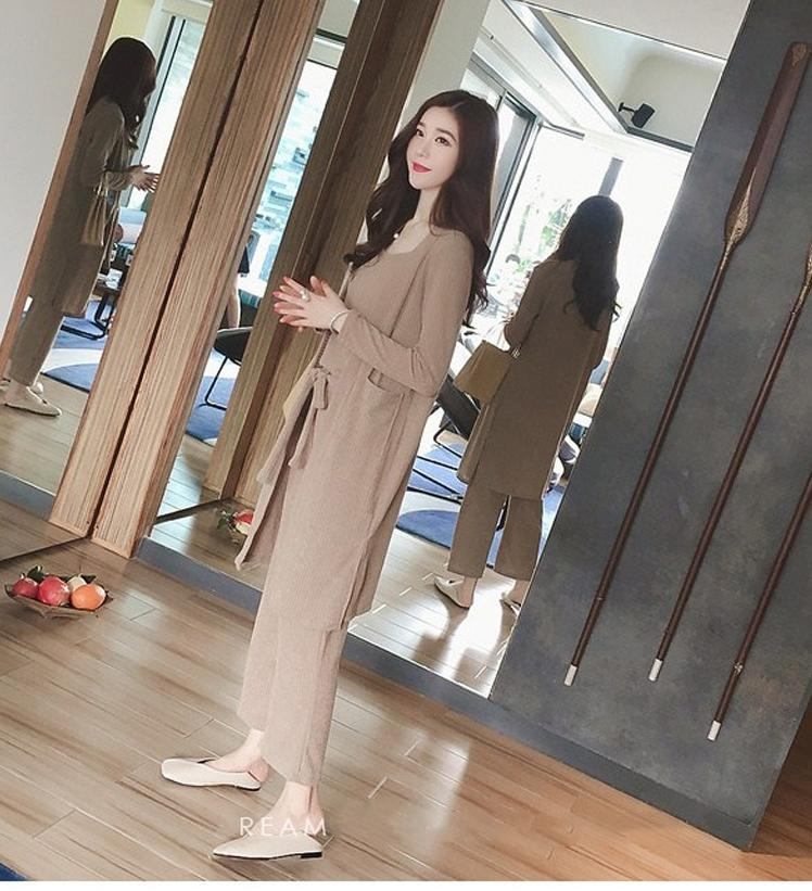 Ukuran Besar Baju Wanita 2018 Model Baru Musim Semi Mm Model Setengah Panjang Rajutan Kardigan Bawahan Tank Top Kulot 1 Paket/set Isi 3 Pcs Dipasang By Koleksi Taobao.