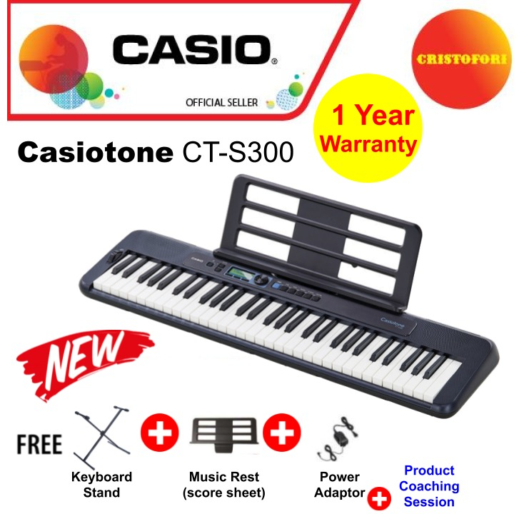 Casio Ct-S300 (black) Touch Responsive 61 Keys Keyboard With Carry Handle, New Generation Casiotone , Compact Portable Lightweight , Optional Power By Batteries ( Cts300 / Cts 300 ).