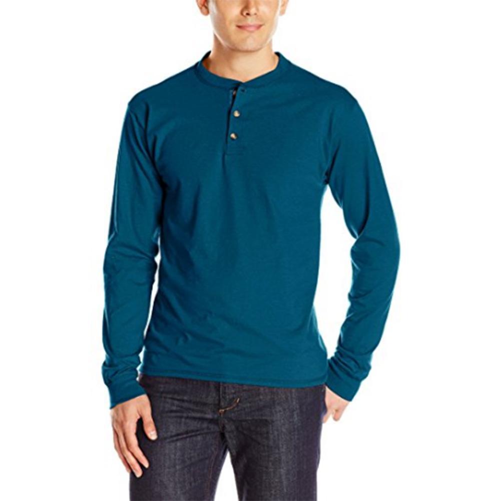 Pria Warna Solid 3 Kancing Lengan Panjang T-Shirt By Tianyou Fashion.
