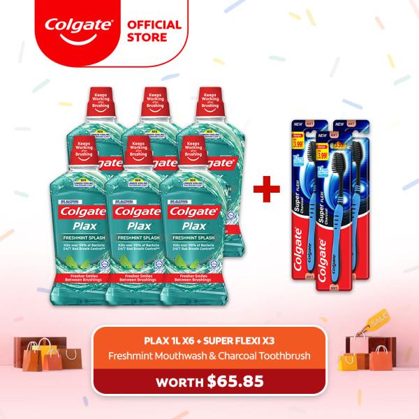 Buy [4.4 Just 4 U] Colgate Plax Freshmint Mouthwash 1L [Bundle of 6] + 3 Super Flexi Charcoal Toothbrush (1525387-6 + FOC 61000860-3) Singapore