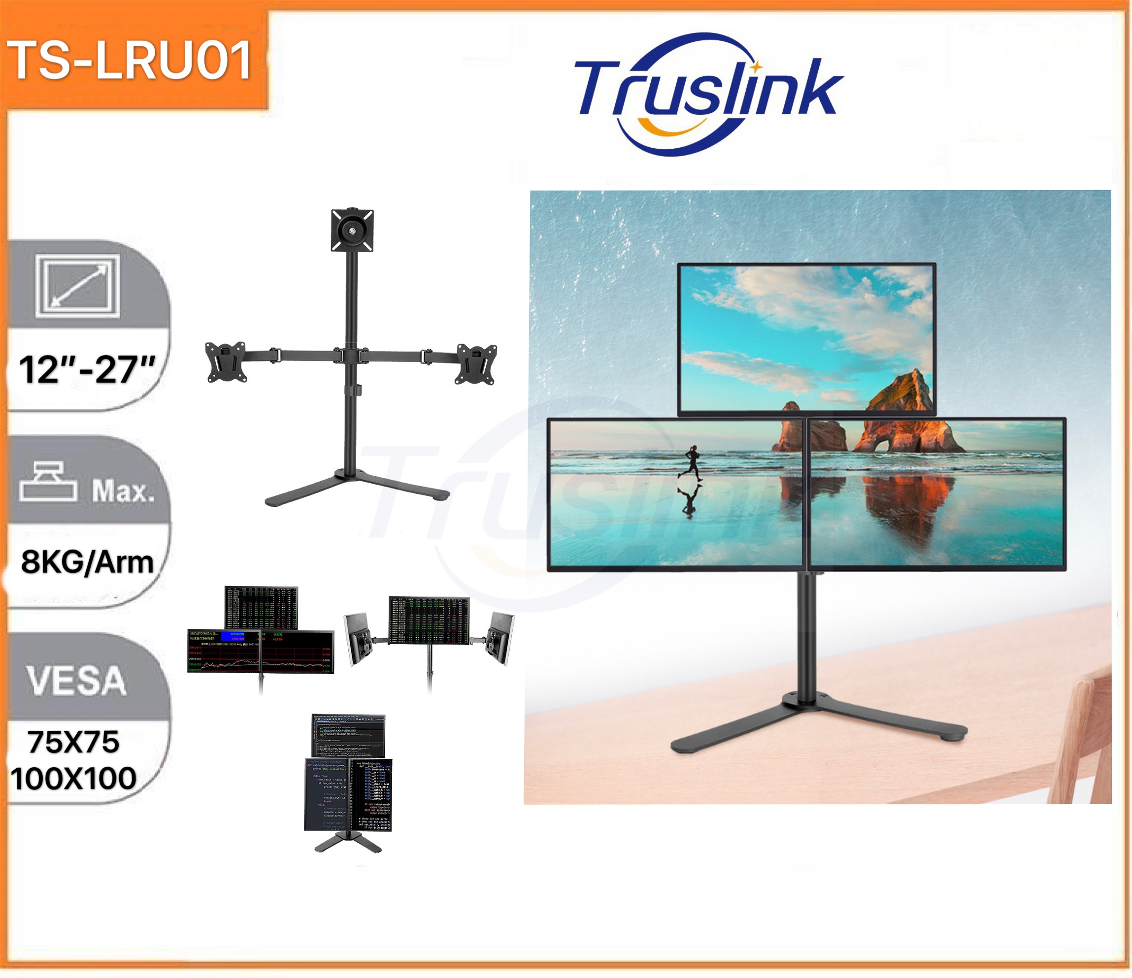 [SG Seller]Truslink Triple Monitor Desk Stand Table Clip Height Adjustable Full Motion Two Arm Monitor Mount for Two 12 to 27 inch LCD LED Screens with Swivel and Tilt, 8KG Per Arm Up Down Tilt 90° Adjustment