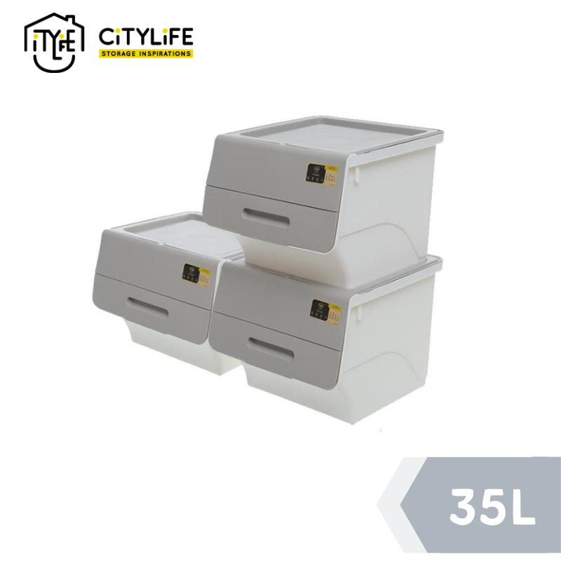[BUNDLE OF 3]-Citylife Stackable Storage Box with Front Opening 35L