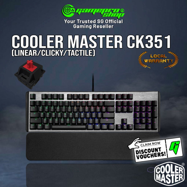 [GPExclusive] Coolermaster CK351 RGB Optical Mechanical Gaming Keyboard Available in 3 Switches (2Y) Singapore