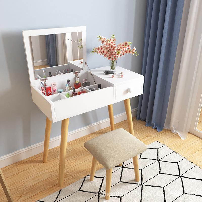 White Fold Down Mirror Dressing Makeup Table With Chair - 80cm