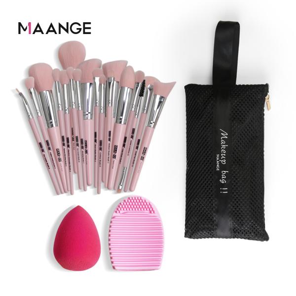 Buy MAANGE 18pcs Professional Makeup Brush Set Beatuy Power Foundation Make Up Sponges Tool Kit with Cosmetic Bag Singapore