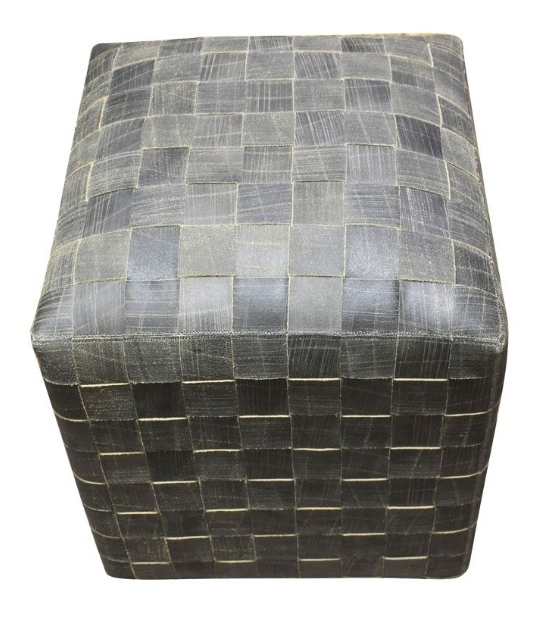 Cowhide Leather Cube Ottoman