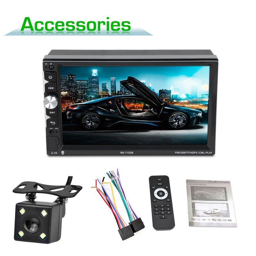 Warna 7152 HD 1080 P Mobil MP5 Player 7 Inch Layar Sentuh dengan Kamera 7 Warna Lampu Latar