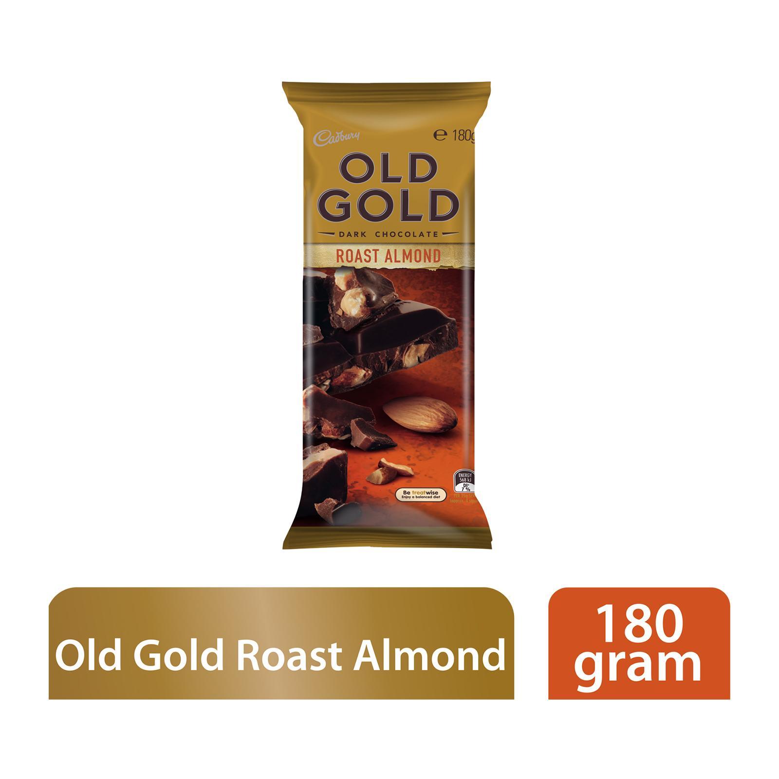 Cadbury Old Gold Roast Almond Dark Chocolate Block