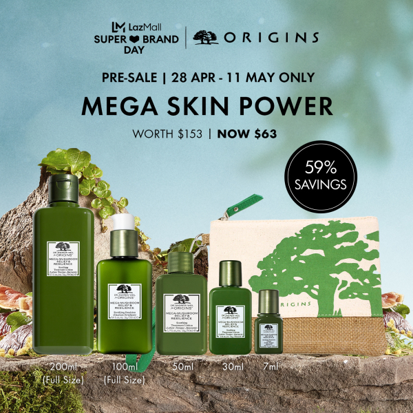 Buy [Save 59% Pre-Sale Exclusive: 28 Apr - 11 May] Origins - 6-pc Skincare Set with Mega-Mushroom Relief & Resilience Soothing Treatment Lotion 200ml, 50ml, 30ml, 7ml, Fortifying Emulsion Lotion 100ml (worth $153) • Mega Skin Power Singapore