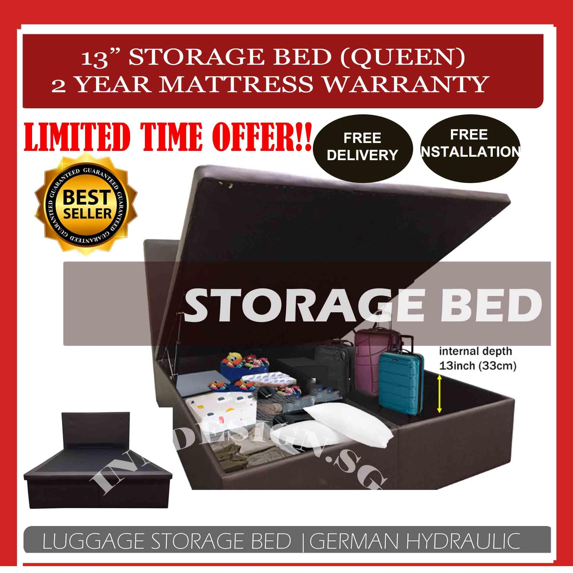 [2Year Warranty] Queen Storage Bed With 13inches Internal Depth [Can put Big Luggage] (Free Delivery and Installation)