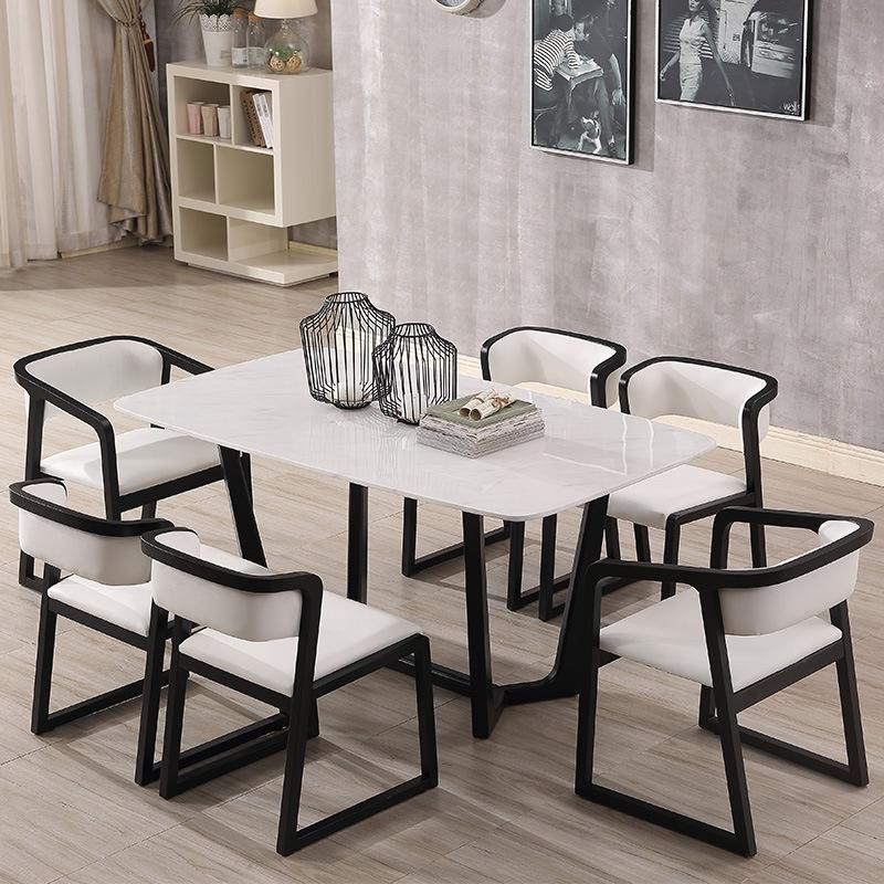 Northern Europe Dining Table Made of Solid Wood Rectangular Marble Dining Tables And Chairs Set Small Apartment Creative Table 6 People