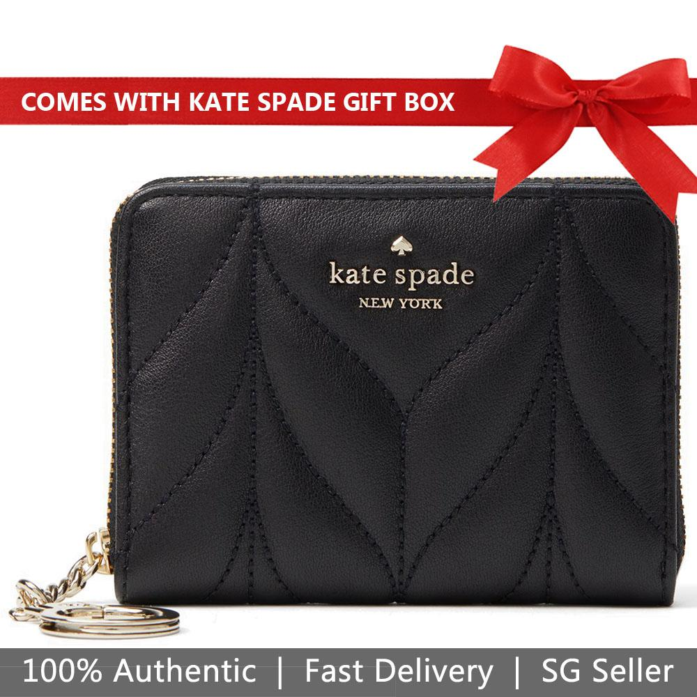 Kate Spade Wallet In Gift Box Briar Lane Dani Quilted Small Wallet Black # WLRU5307