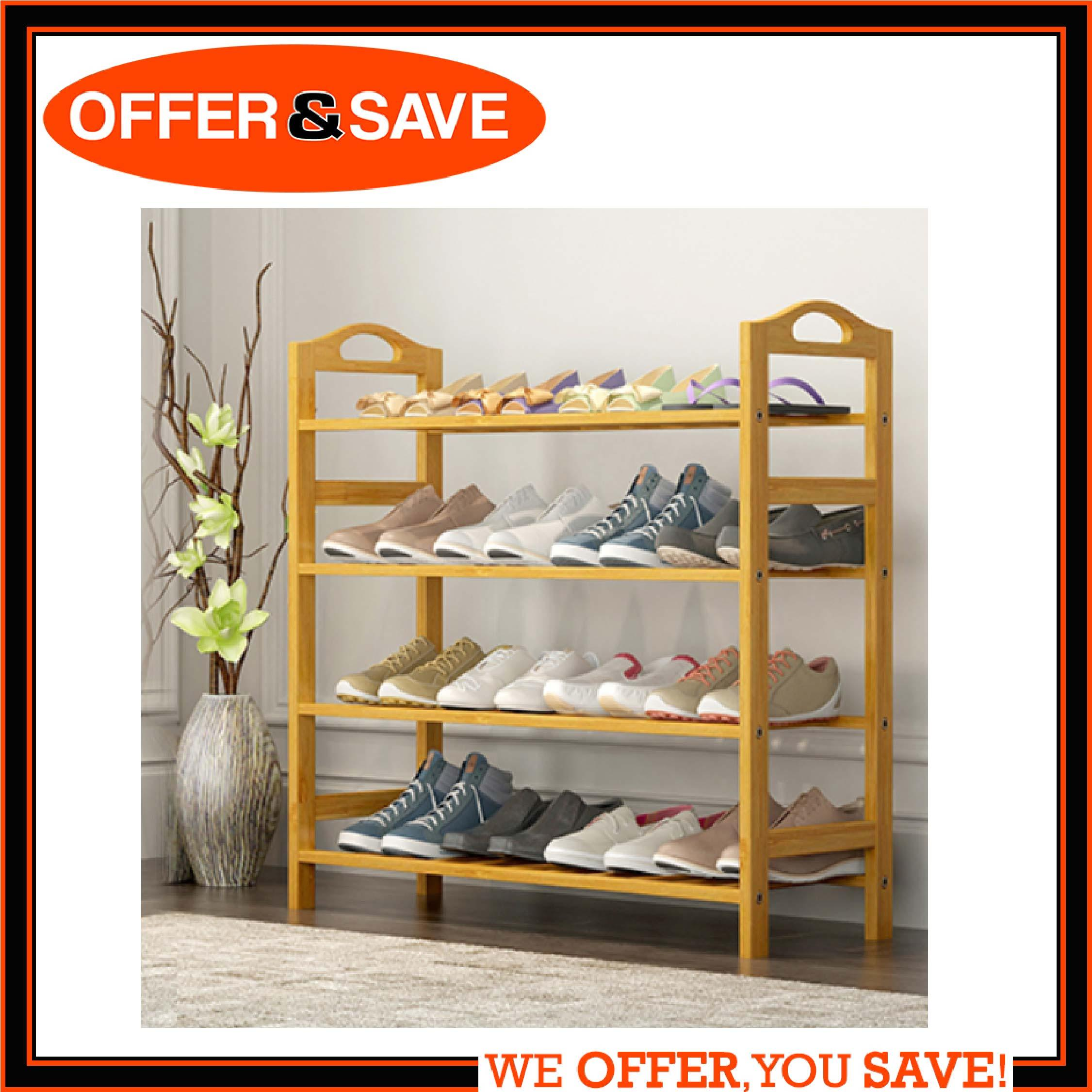 ONS 4 Tiers Natural Bamboo Shoe Rack - Durable Wooden Shoe Organizer/Space Saving/Environmentally Friendly/Utility Storage Shelf for Home