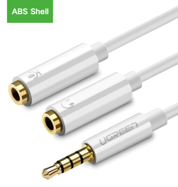 Ugreen Jack 3.5mm Mic + Headphone Splitter Gold Plated Audio Cable Singapore
