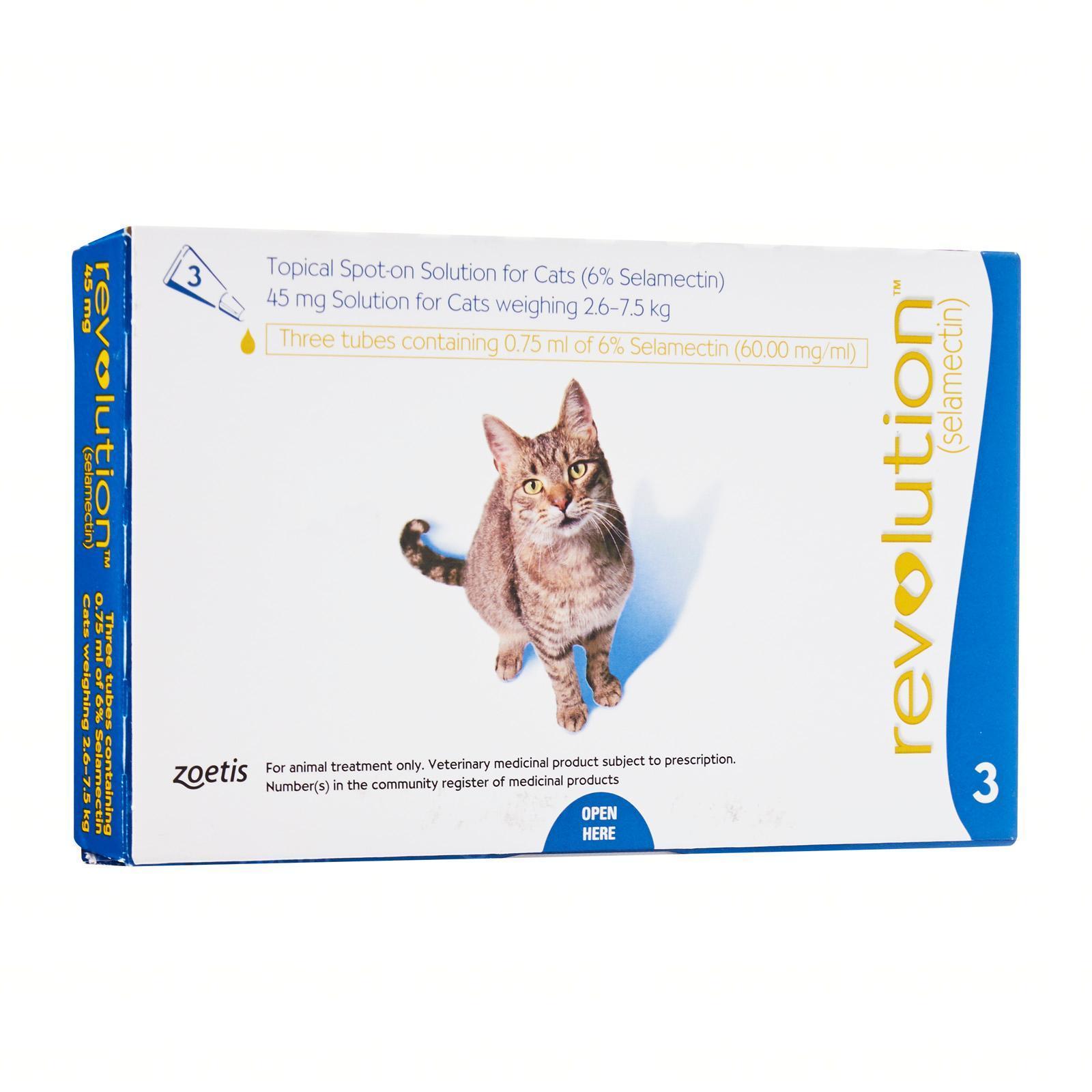 Revolution Spot-On For Cats 2.6 - 7.5Kg (Blue) 3Pc