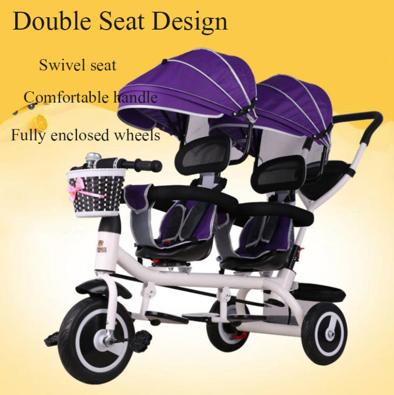 [SG SELLER] Double ChildrenS Tricycle Twin Baby Strollers Swivel Seat With Storage Basket Can Be Pushed And Ridden For 1-7 Years Old Boys And Girls Singapore