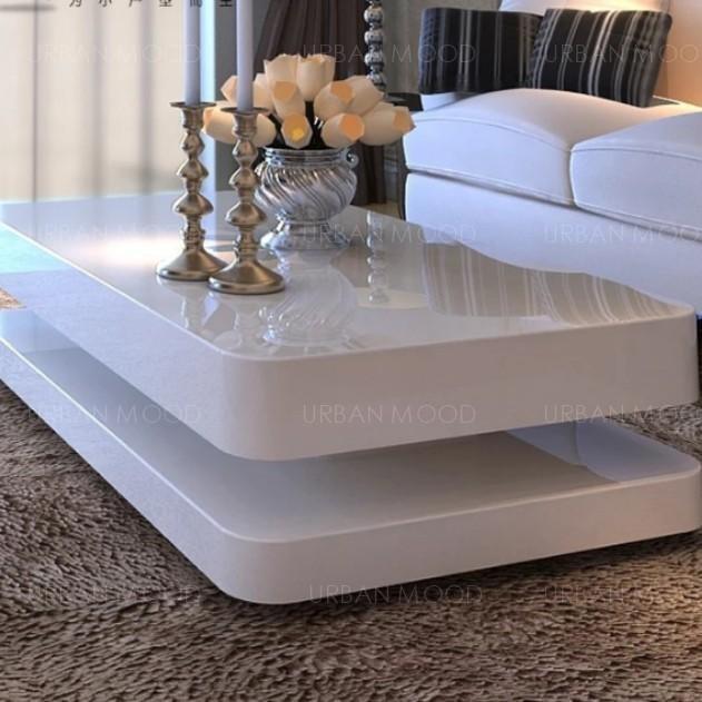 MILA Contemporary Glossy Piano White Coffee Table