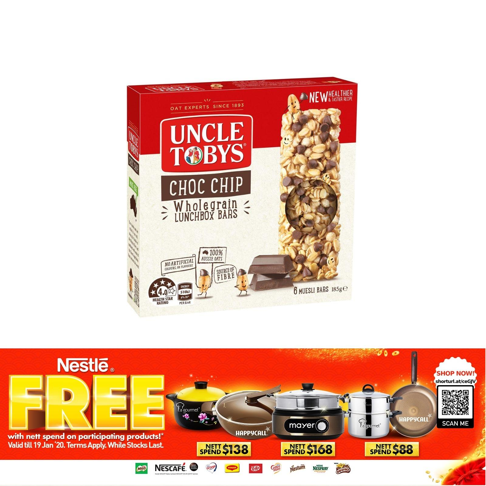 Uncle Toby's Chewy Chocolate Chip Muesli Bar 185G