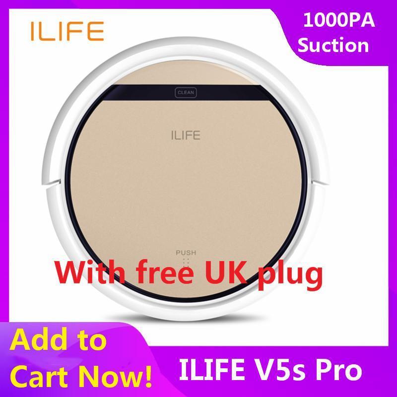 ILIFE V5S Pro Intelligent Robotic Vacuum Cleaner Cordless Dry Wet Sweeping Cleaning Machine with free UK plug - intl Singapore