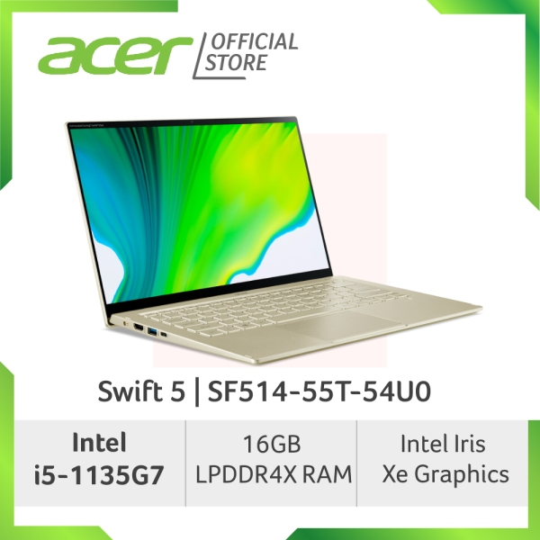Acer Swift 5 SF514-55T-54U0/SF514-55T-53B8 (Gold/Green) laptop with LATEST 11th Gen Intel i5-1135G7 processor