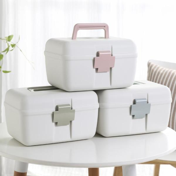 SHIMOYAMA Small household medicine chest, household receipt boxes, multi-purpose double-decker medicine chest medicine storage box medical kit