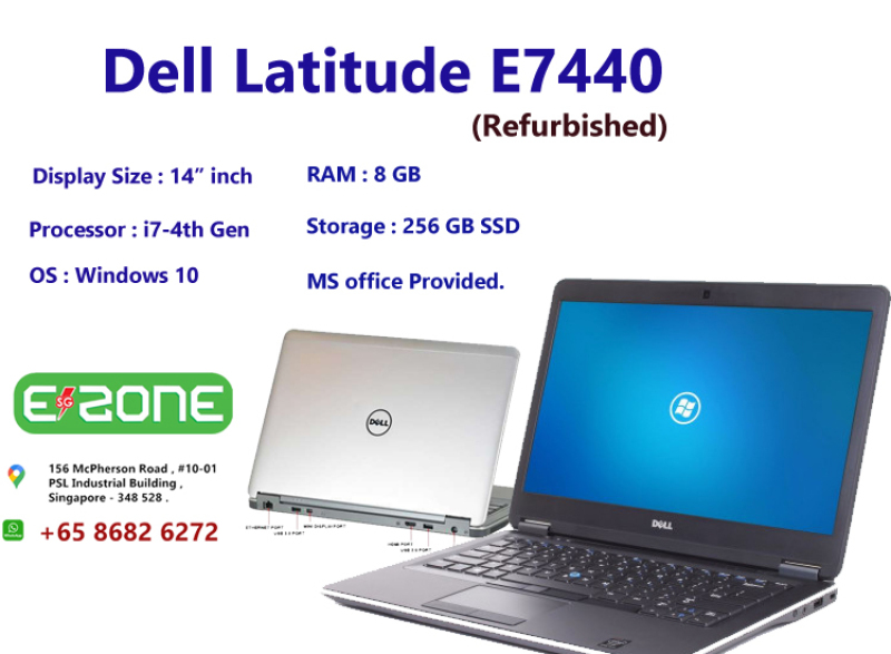 [Same Day Delivery or within 24 hrs Delivery ] Dell Latitude E7440 (Refurbished) | intel core i7 - 4th Gen | 8 GB R M | 256 GB SSD | 14 inch Display Screen | Windows 10 | Ms office