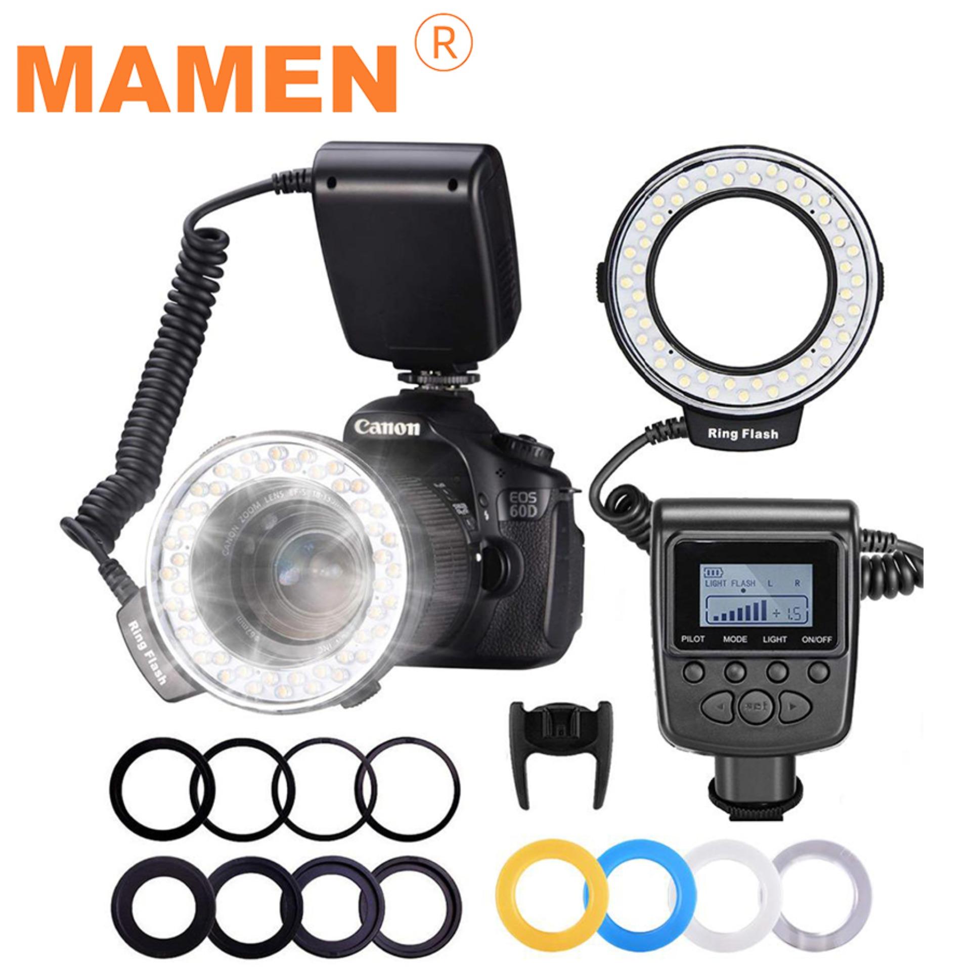 Mamen Rf-550d 48 Macro Led Ring Flash Light With 8 Adapter Ring For Nikon Canon Sony Pentax Olympus Panasonic Camera Dslr Ring Flash Kit.
