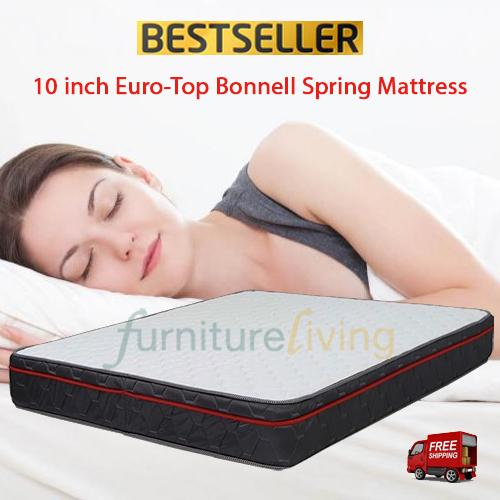 Furniture Living Bonnell Spring Euro-Top Mattress 10inch (FREE Pillow)