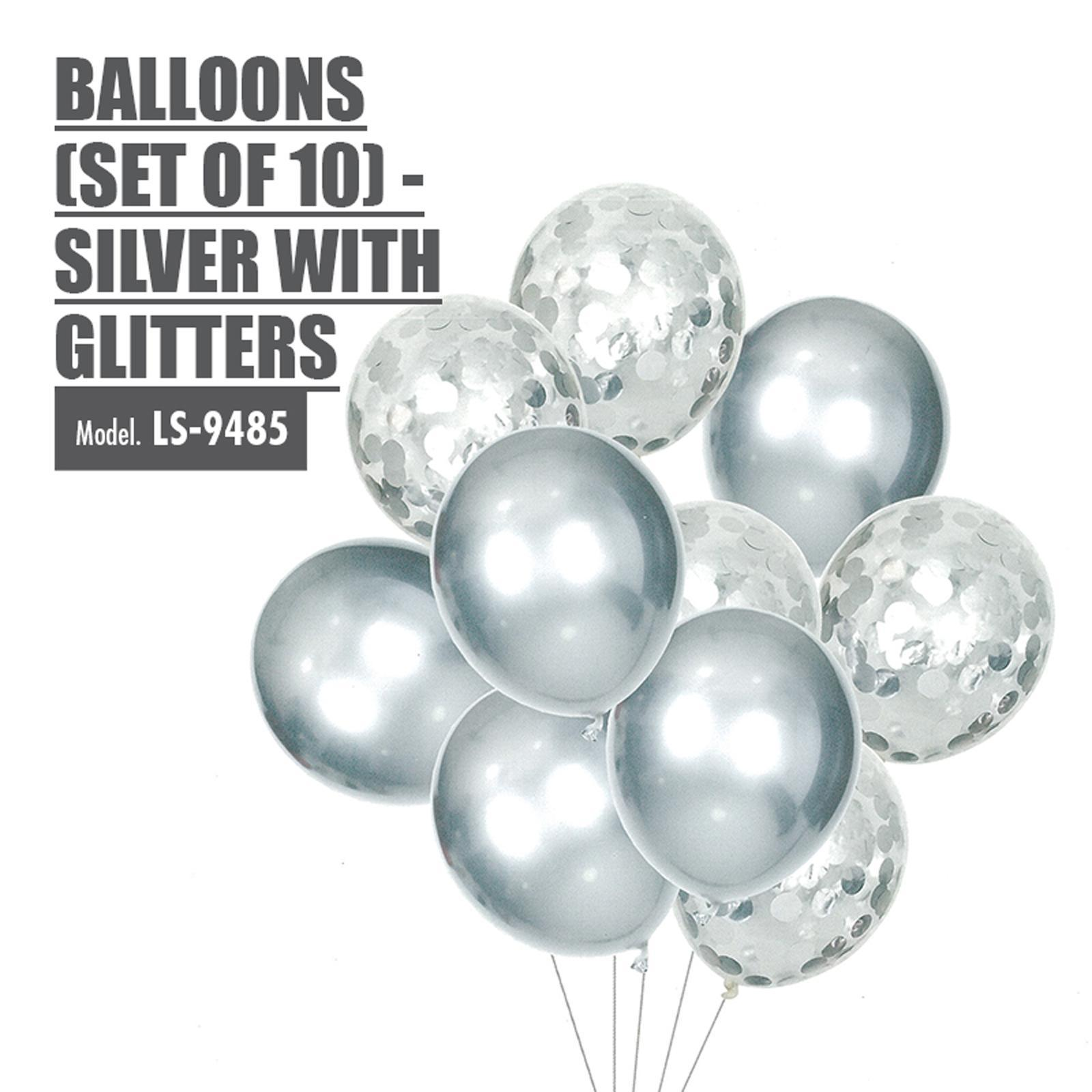 HOUZE Balloons (Set Of 10) - Silver With Glitters
