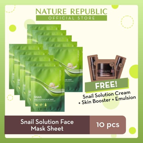 Buy Nature Republic Snail Solution Face Mask Sheet - for Normal Skin (10 pcs) + Snail Solution Cream (1mL) + Toner (1mL) + Emulsion (1mL) Singapore