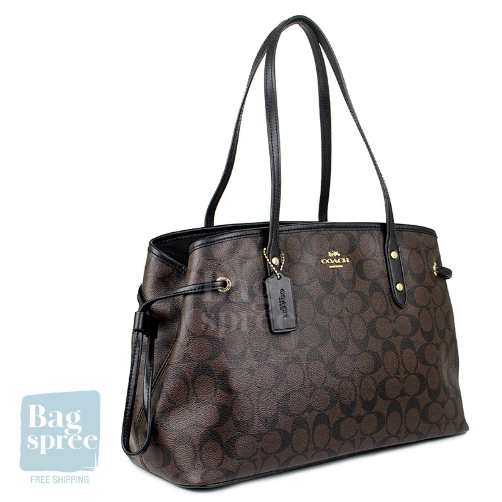 8bd889fc *Authentic & Brand New* Coach Drawstring Carryall In Signature Brown Canvas  Bag F57842 IMAA8 [Gift Receipt Provided]