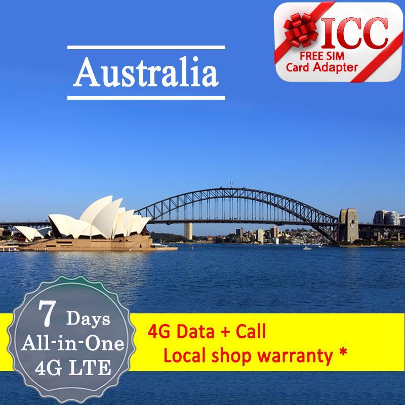 Icc_australia Telstra 7 Days 4g/3g Data + Call + Sms By Icc.