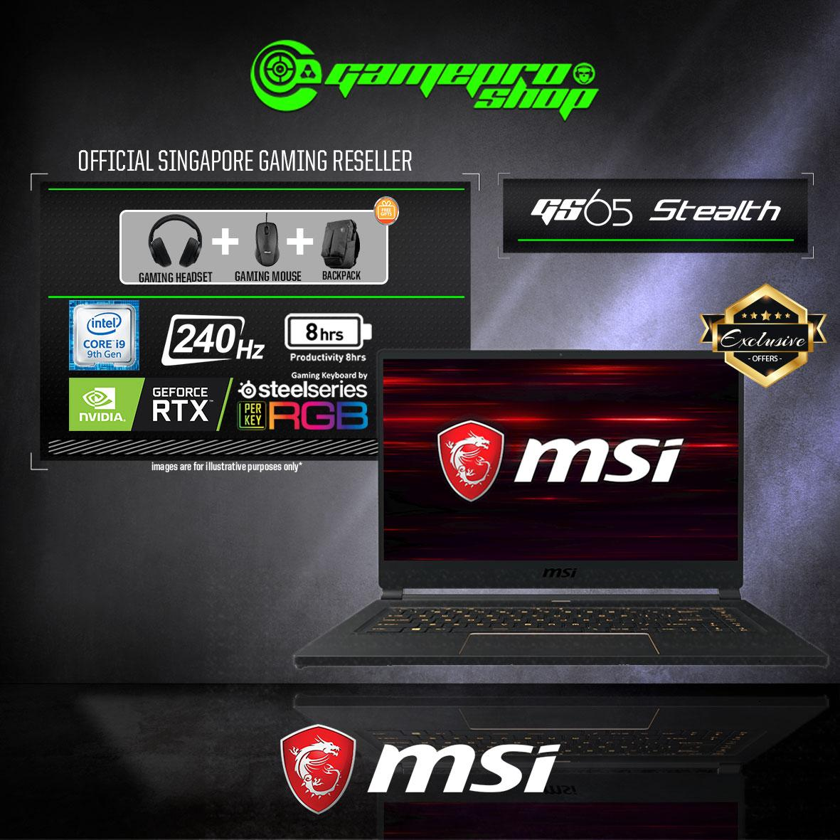 9th Gen MSI GS65 RTX2070 STEALTH 9SF - 679SG EXCLUSIVE (i7-9750H / 16GB / 1TB SSD / WIN 10 PRO) 15.6 FHD with 240Hz Max-Q GAMING LAPTOP *GSS PROMO*