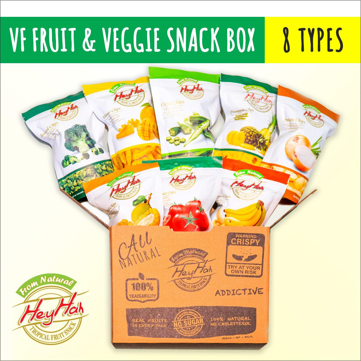 Heyhah Premium Fruits & Vegetable Chips Party Pack - (8 Flavours: Mango, Banana, Jackfruit, Pineapple, Okra (ladys Finger), Broccoli, Cherry Tomato, Onion) By Heyhah Health Food.