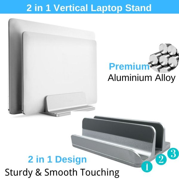 Vertical Laptop Stand, 2 In 1 Adjustable Desktop Macbook Holder Aluminum (Up to 17.3 inch) Also Fit for All Type of Notebook Laptop Ipad Tablet Phone Book Fathers Day Gift