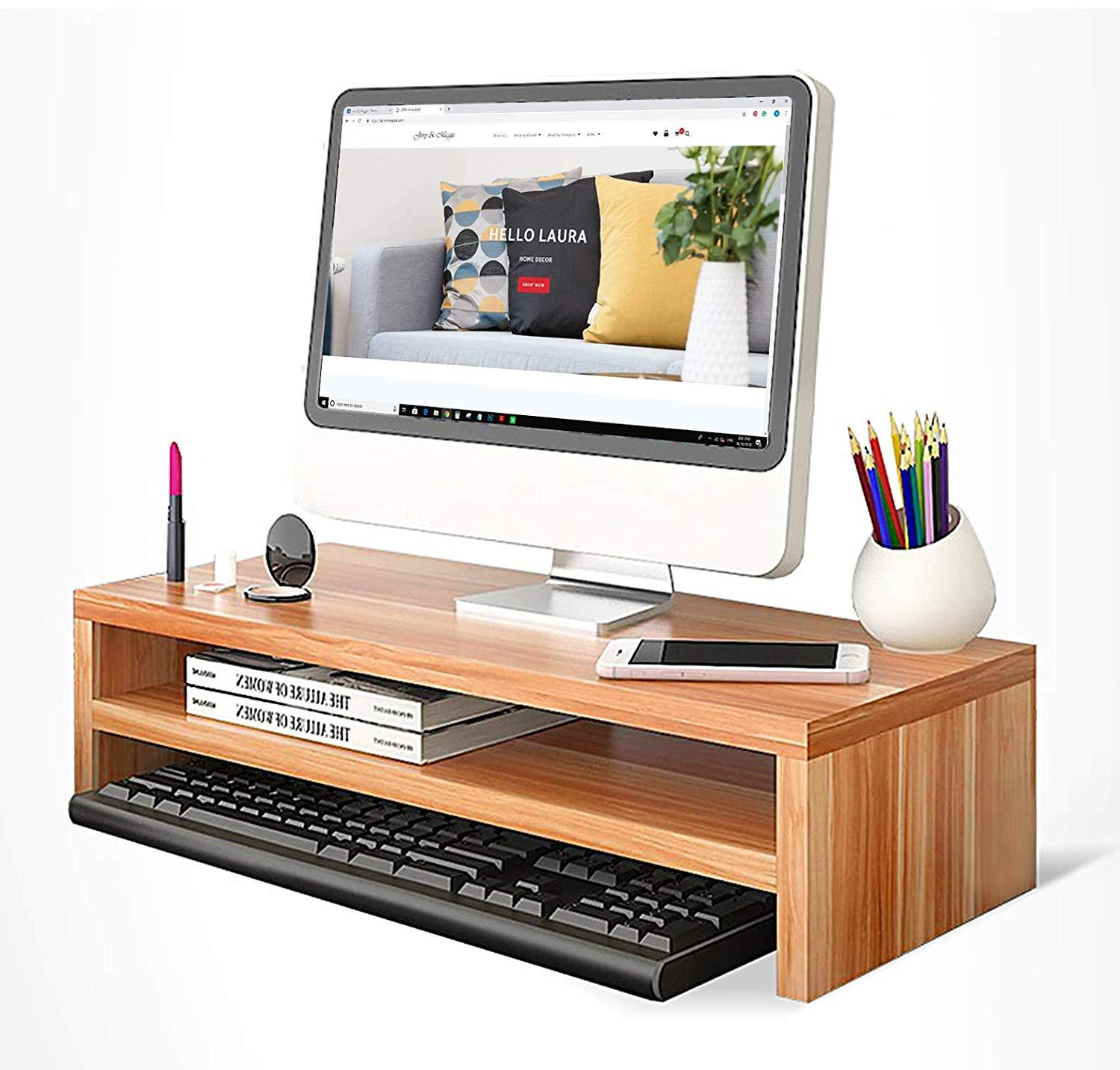 2 Tier Wooden Monitor Riser Ergonomic Stand with Keyboard Storage for Posture Correction