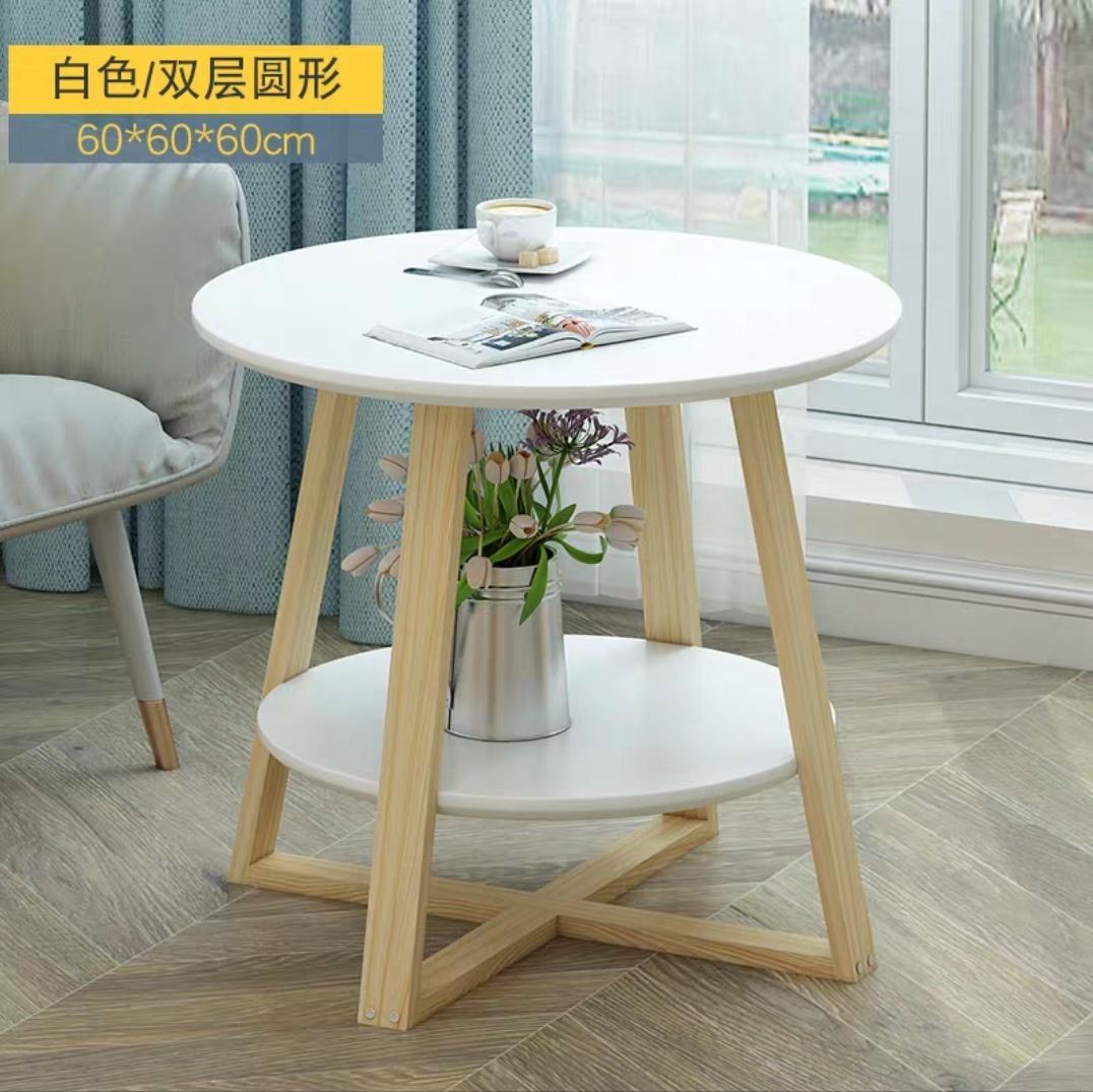 (Amura Living) Stylish White Round Side Table