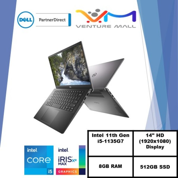 New 11th Gen (READY STOCK) New Vostro 14 5402- i5-1135G7/Win 10 Pro/ Iris® Xe Graphics/8GB RAM/512GB SSD/3yrs onsite warranty