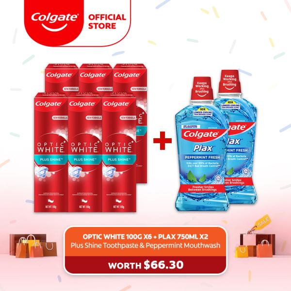 Buy [4.4 Just 4 U] Colgate Optic White Plus Shine Whitening Toothpaste 100g [Bundle of 6] + 2 Colgate Plax Peppermint 750ml Mouthwash (188189569-6 + FOC 1525375-2) Singapore