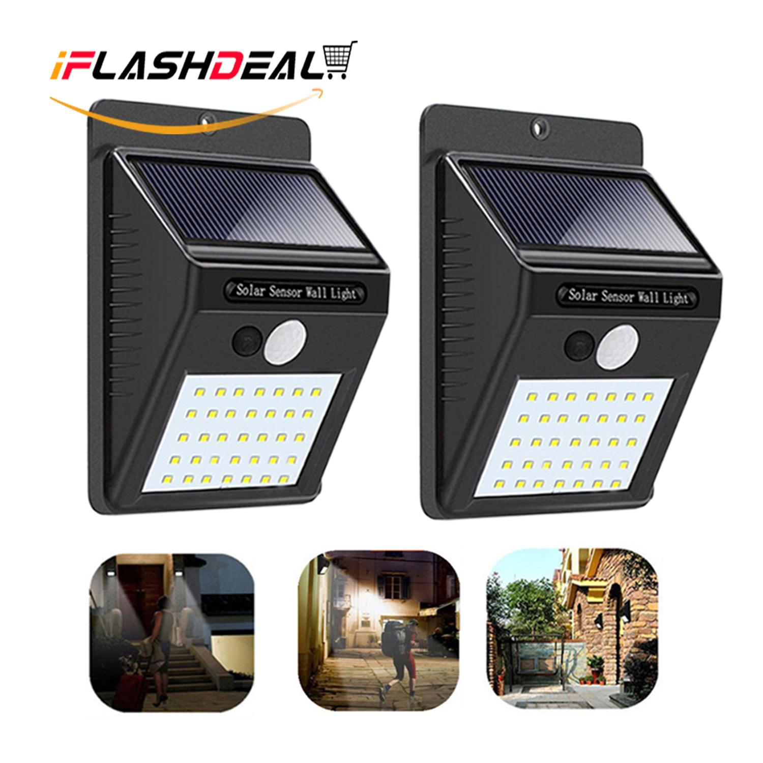 iFlashDeal 35 LED Solar Powered Wall Light Outdoor Lighting Waterproof Wall Lamp Motion Sensor Wireless Security Lights for Driveway Patio Garden Path 【2 Pack】