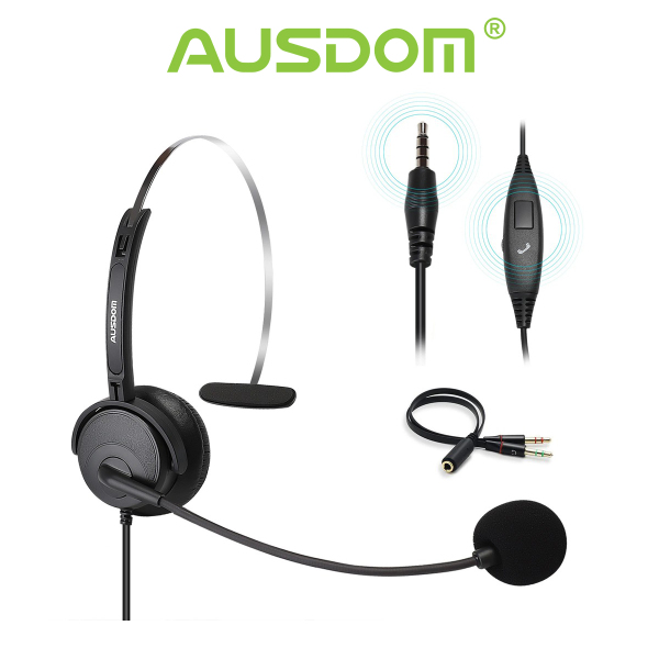 Ausdom BH01 Phone Headset with Noise Cancelling Mic Office Business Headset Singapore