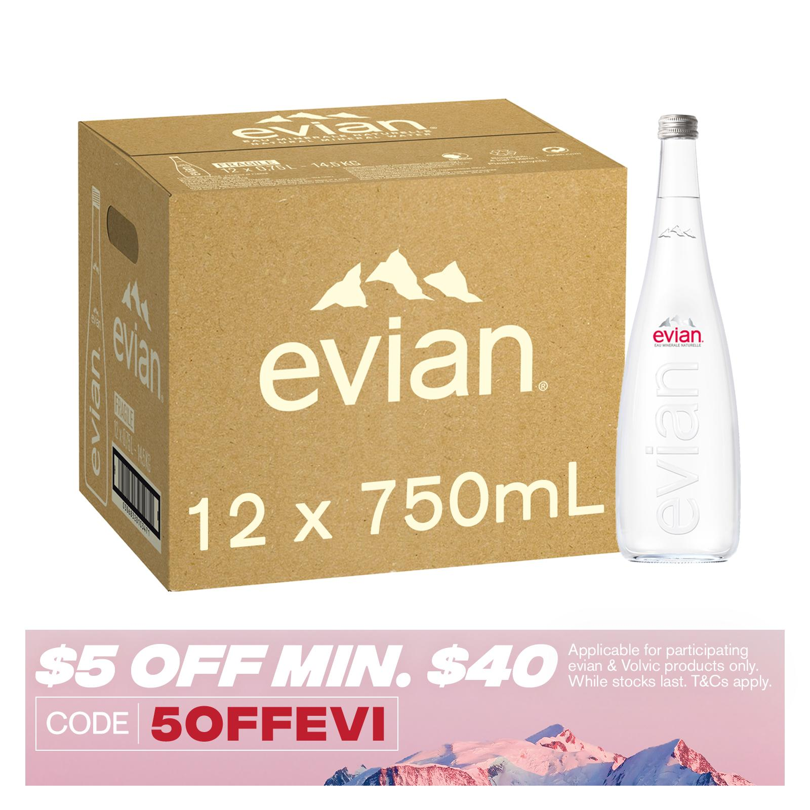 Evian Natural Mineral Water Glass Case